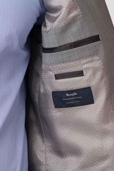 VARTEKS - Muški vuneni sako sive boje Super 110's – Regular f