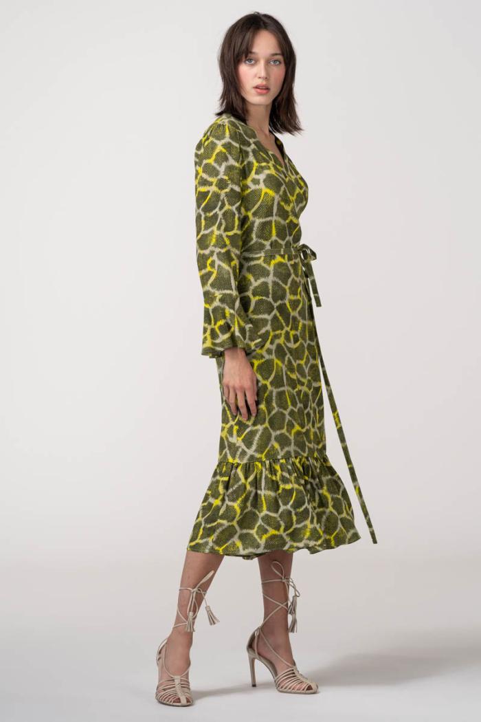 VARTEKS Haljina na preklop s animalnim printom u dvije boje
