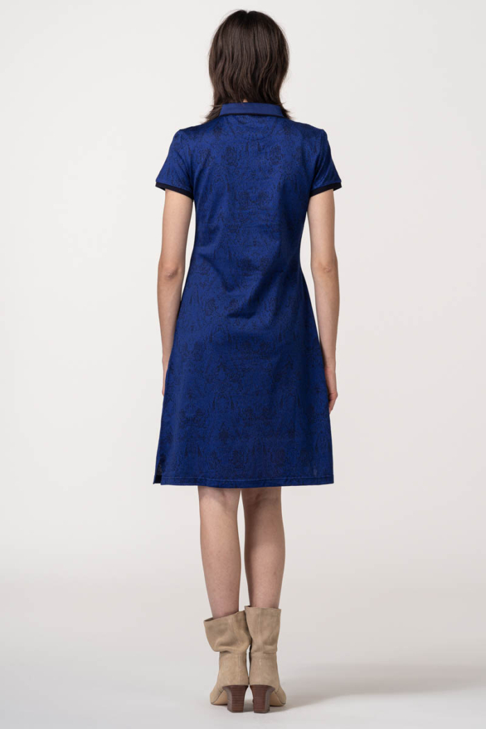 VARTEKS Ženska polo haljina plave boje s printom