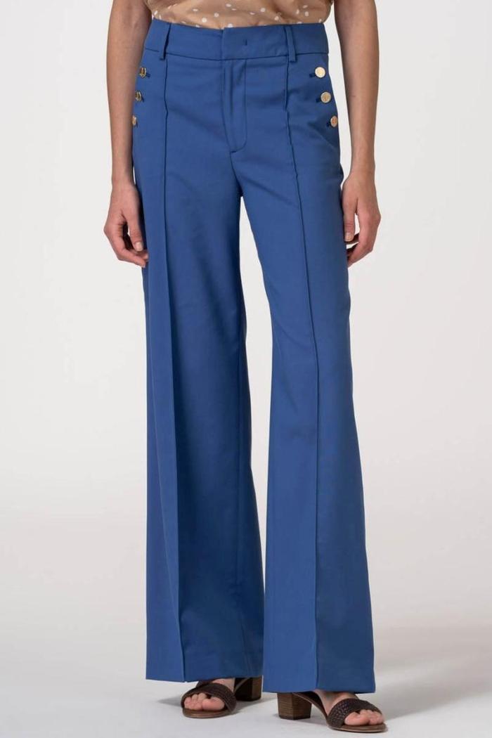 VARTEKS Ženske duge široke hlače ocean plave boje
