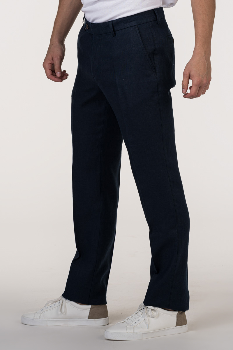 VARTEKS Muške lanene hlače tamno plave boje - Regular fit