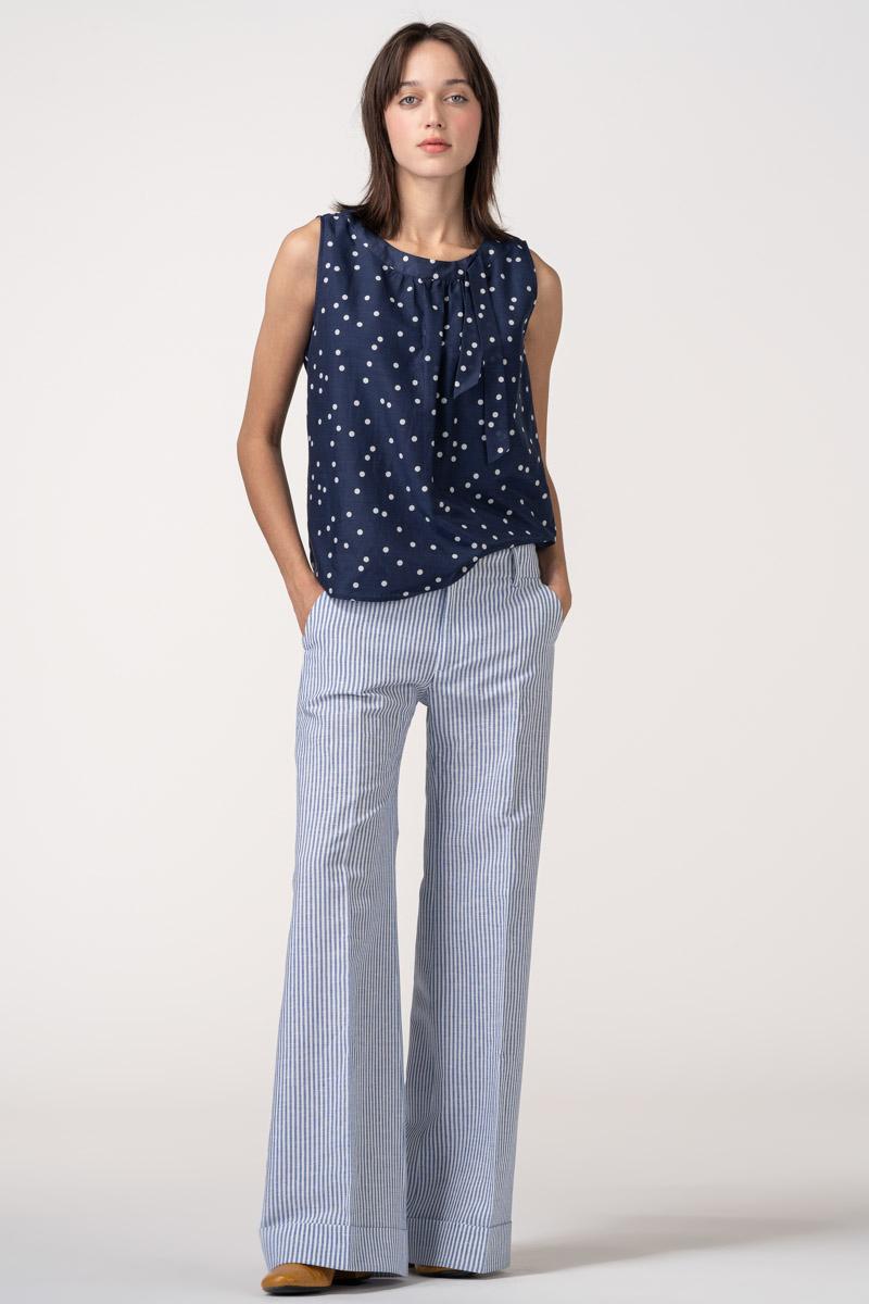 VARTEKS Ženske široke svijetlo plave hlače
