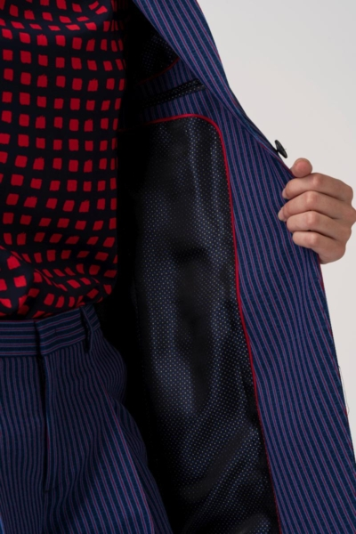 VARTEKS Ženski sako s prugicama u plavoj i crvenoj boji