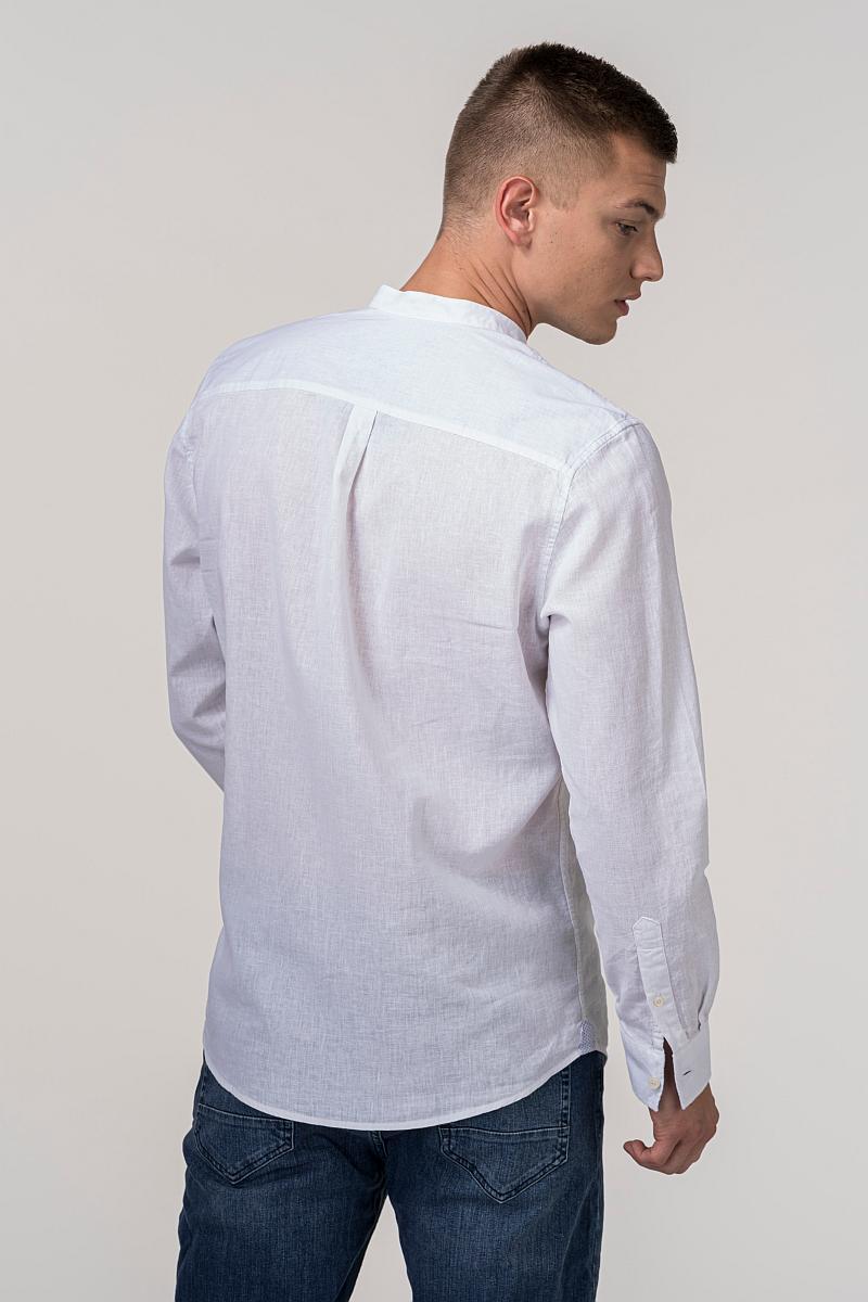 VARTEKS Bijela lanena košulja s ruskom kragnom - Regular fit