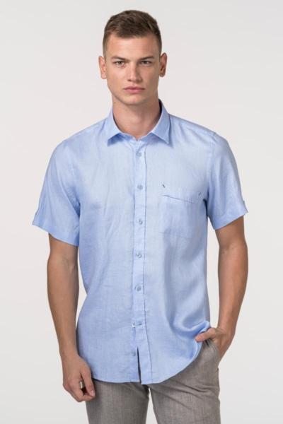VARTEKS Lanena muška košulja kratkih rukava u dvije boje - Slim fit