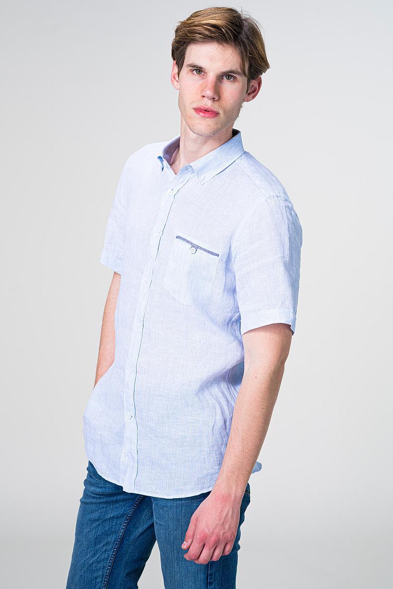 VARTEKS Lanena muška košulja kratkih rukava s decentnim prugama