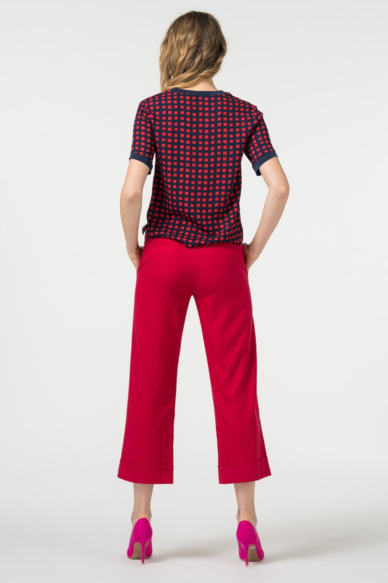 Varteks Široke ženske hlače 7/8 crvene boje