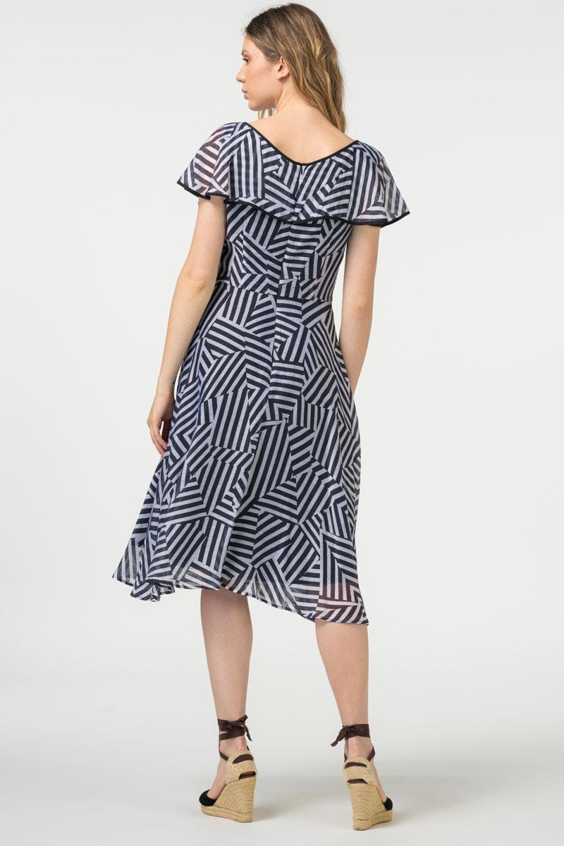 VARTEKS - Ženska prozračna ljetna haljina geometrijskih oblika