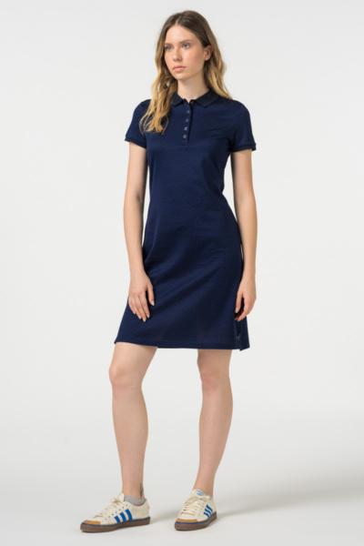 VARTEKS - Ženska plava polo haljina mramornog uzorka