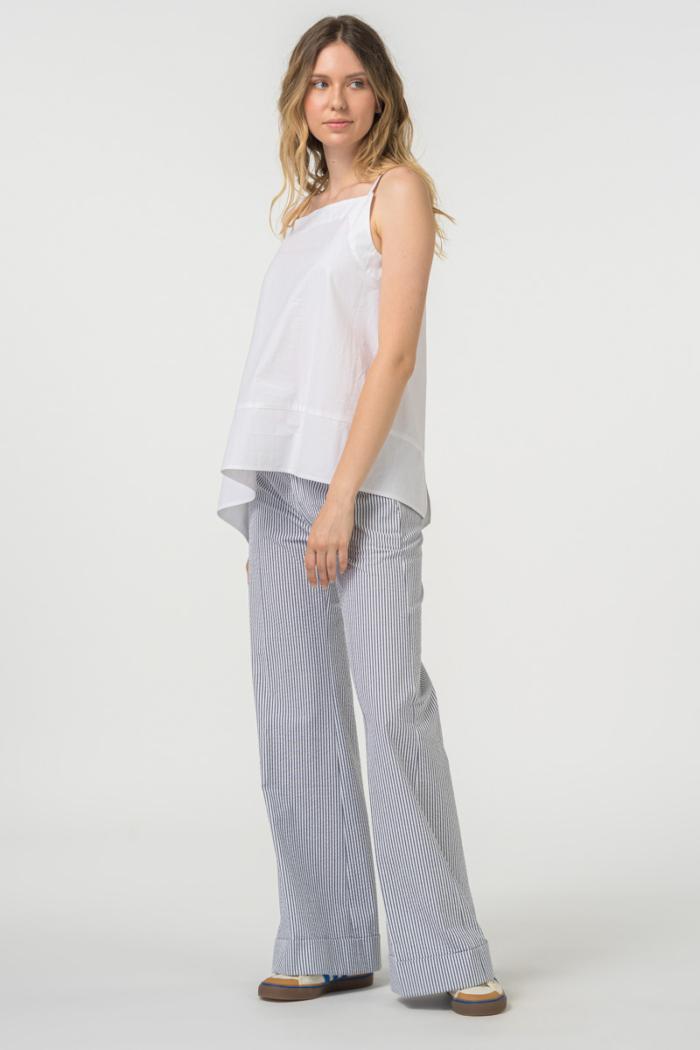 VARTEKS Široke pamučne hlače na prugice