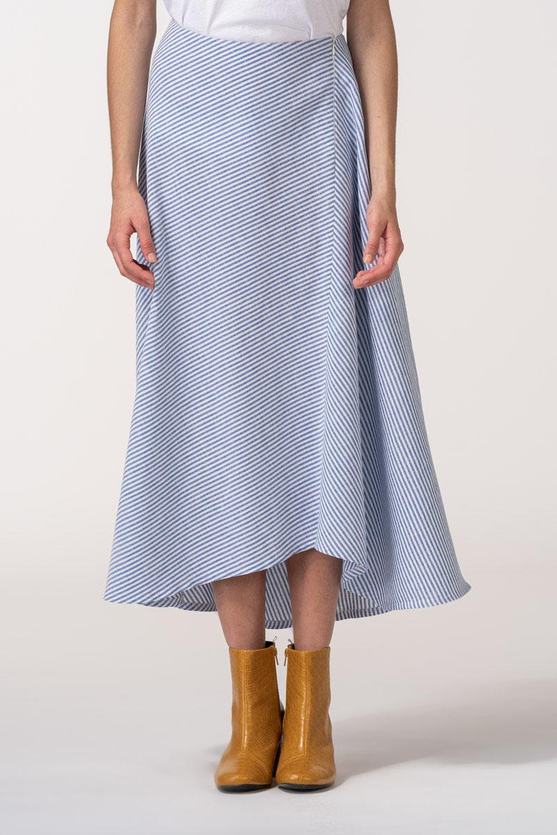 VARTEKS Asimetrična suknja na plave prugice