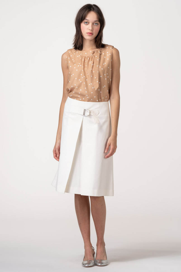 VARTEKS Pamučna suknja A kroja bijele boje