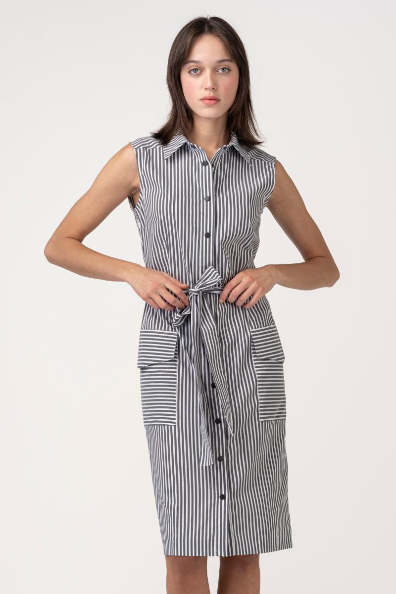 VARTEKS Ženska prugasta košulja - haljina bez rukava