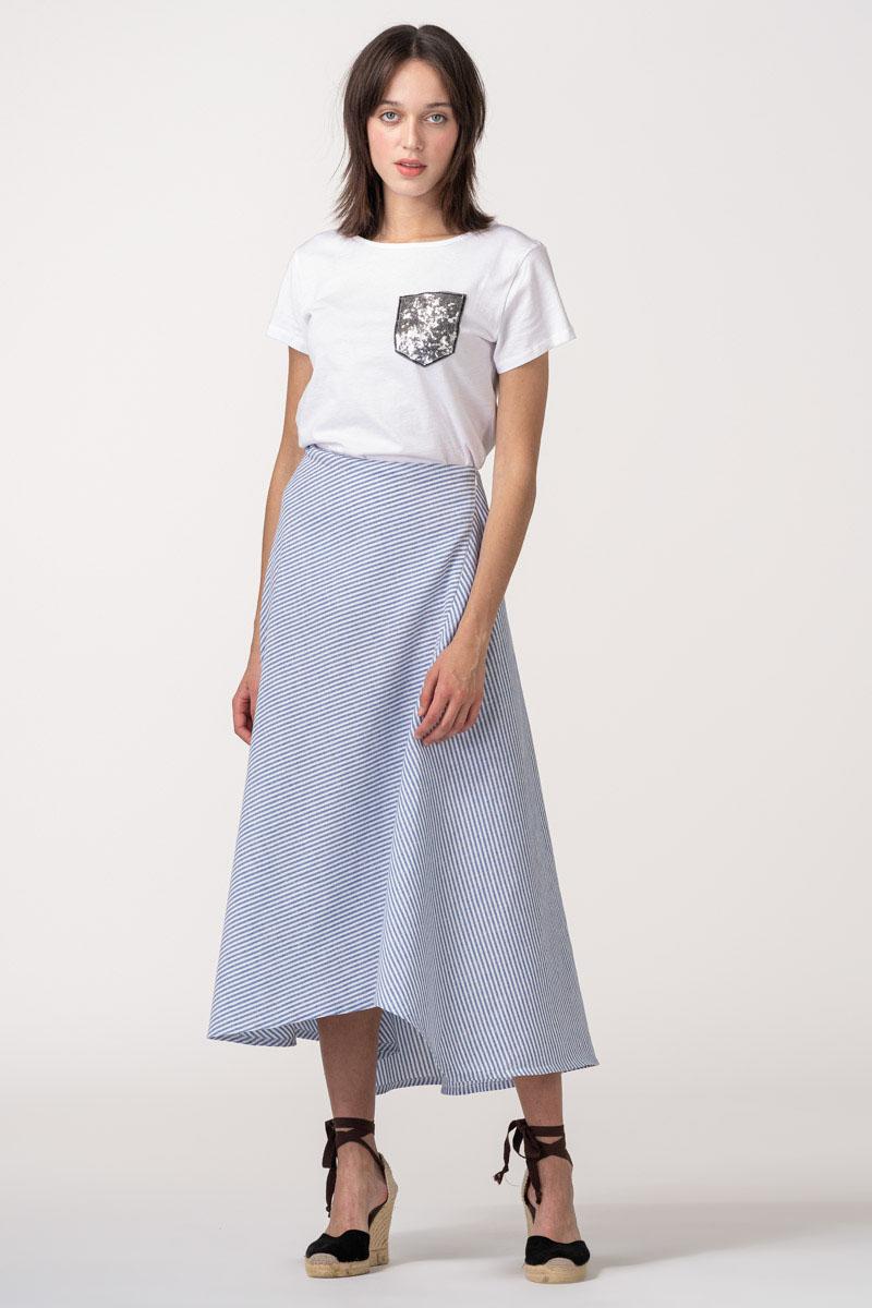 VARTEKS - Asimetrična suknja na plave prugice