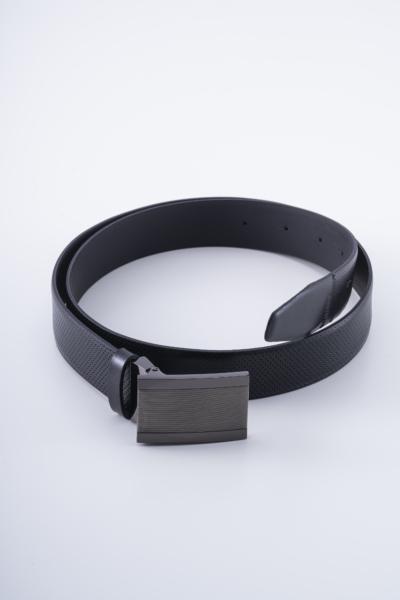 Varteks Black leather belt with full buckle