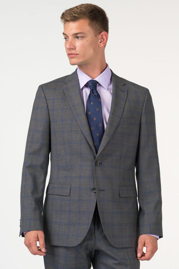 Varteks Muški sivo karirani sako od odijela - Regular fit