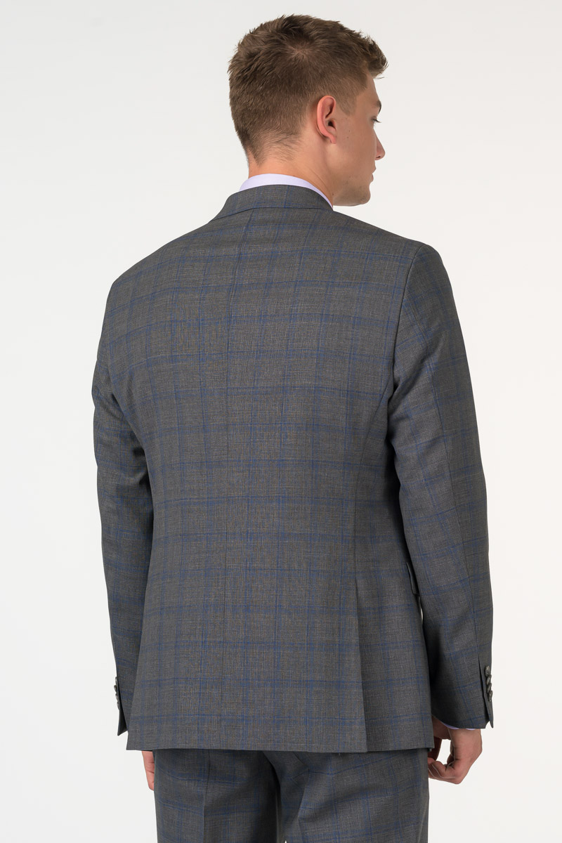 Varteks Men's grey plaid suit blazer - Regular fit