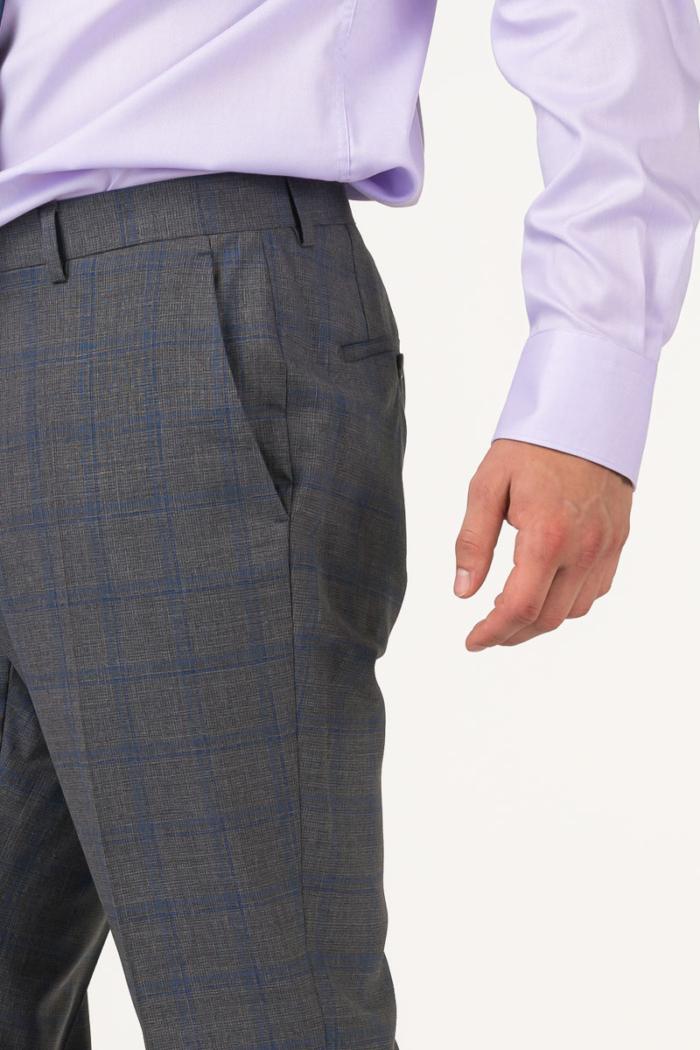 Varteks Men's grey plaid trousers from the suit - Regular fit