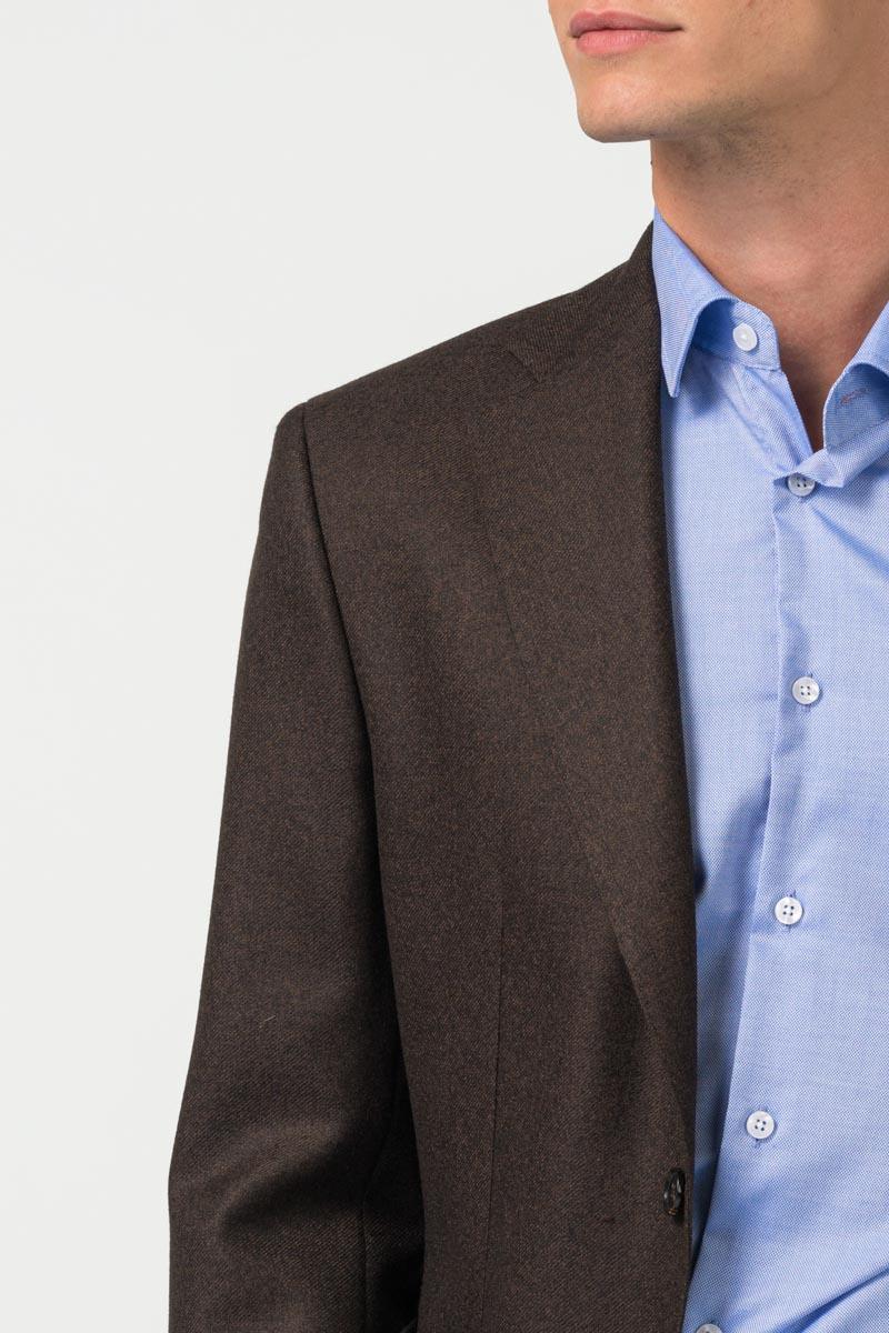 Varteks Brown men's jacket with a micro pattern - Regular fit