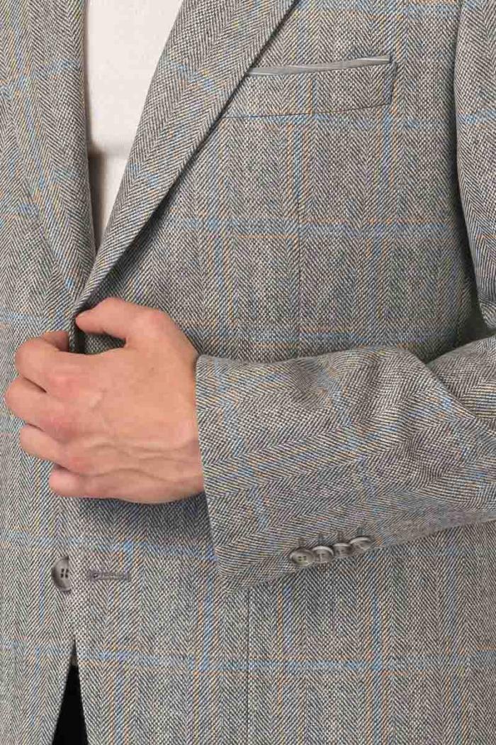 Varteks Light grey plaid blazer - Regular fit