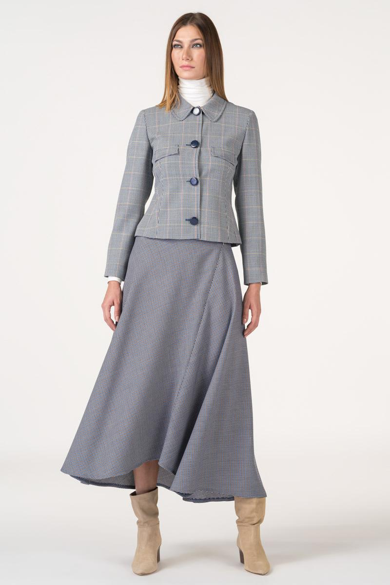 Varteks Long skirt with micro-plaid pattern