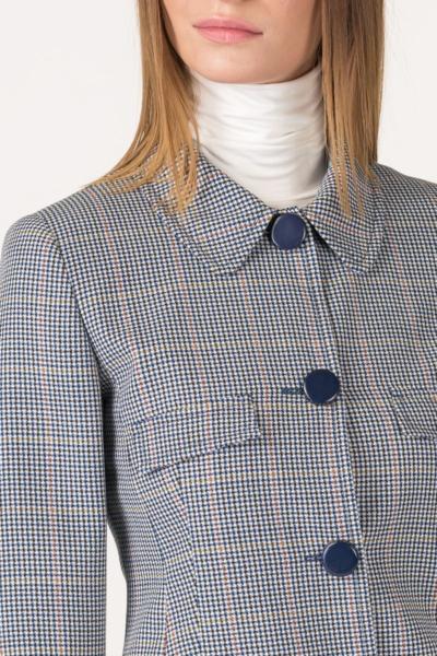 Varteks Short plaid blazer with blue buttons