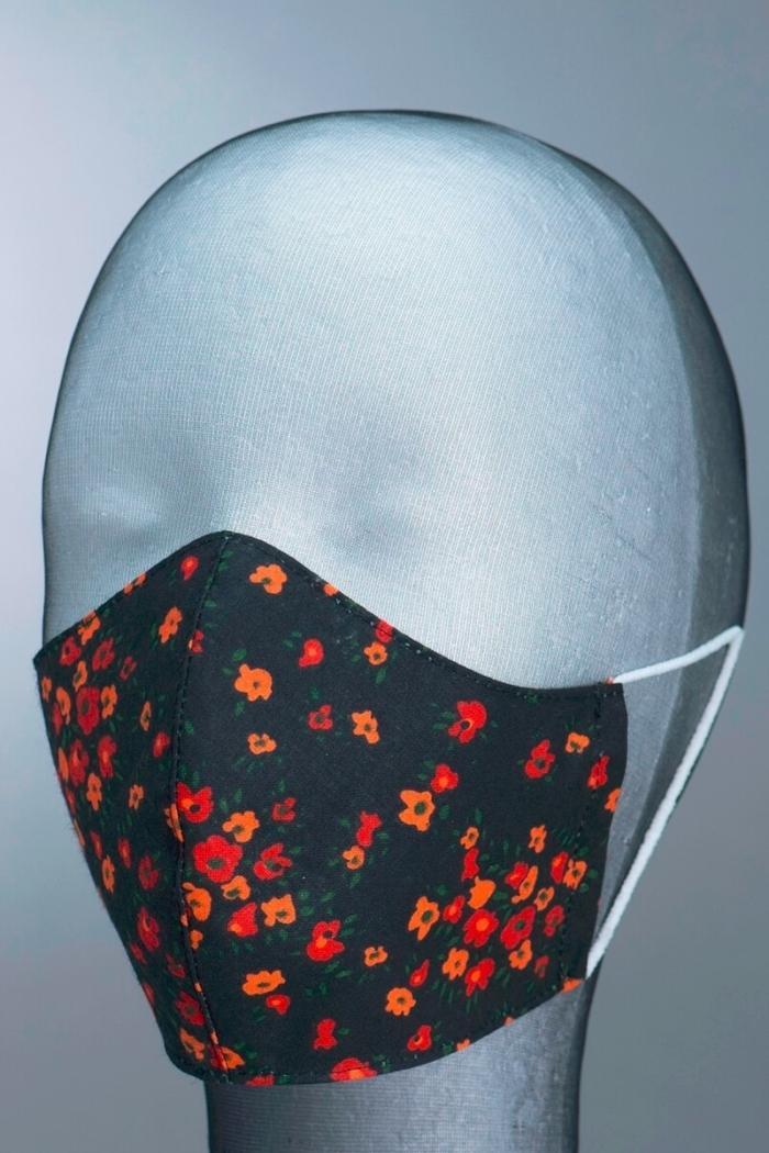 Dezenirana dvoslojna maska za lice - cvjetna - vel. M