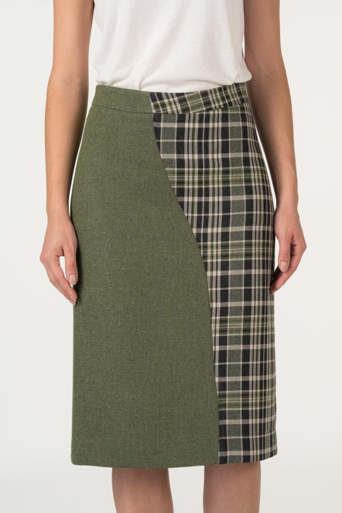 Varteks Asymmetrical olive green pencil skirt