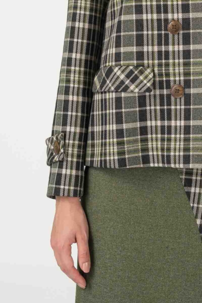Varteks Plaid women's blazer in olive green