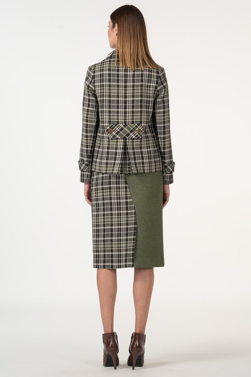 Varteks Plaid women's blazer in olive greene