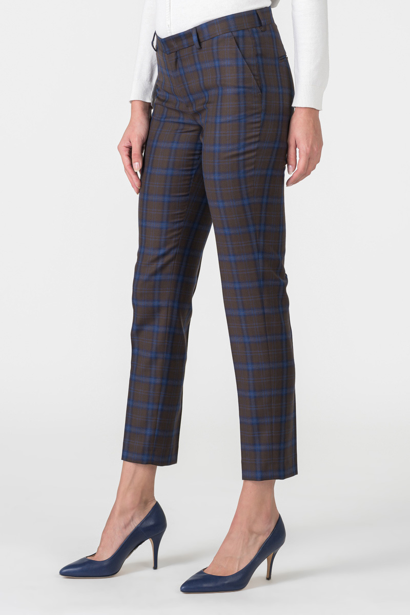 Varteks Women's brown blue plaid trousers