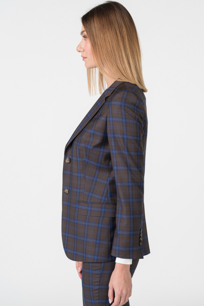Varteks Women's brown blue plaid blazer