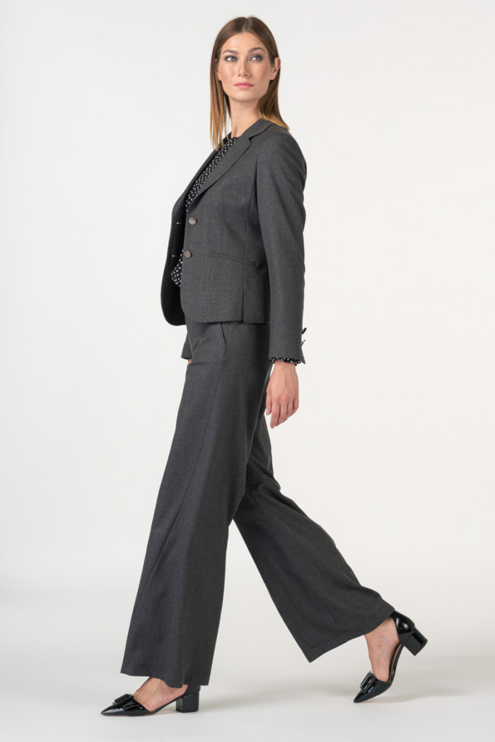 Varteks Ženske sive hlače širokih nogavica