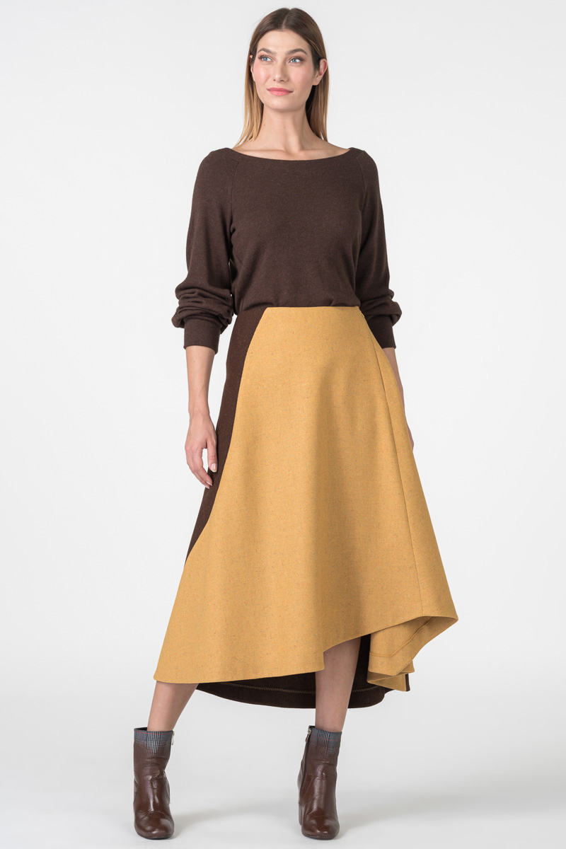 Varteks Asymmetrical mustard-colored skirt