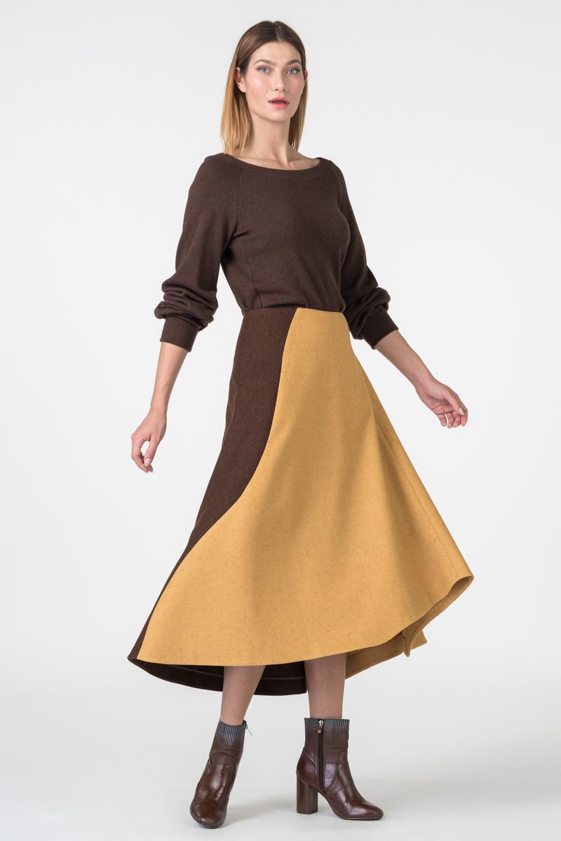 Varteks Asymmetrical mustard-colored skirt