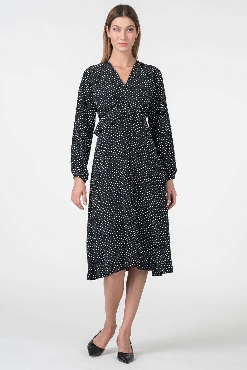 Varteks Crno bijela haljina točkastog uzorka i ukrasom za lice istog dezena