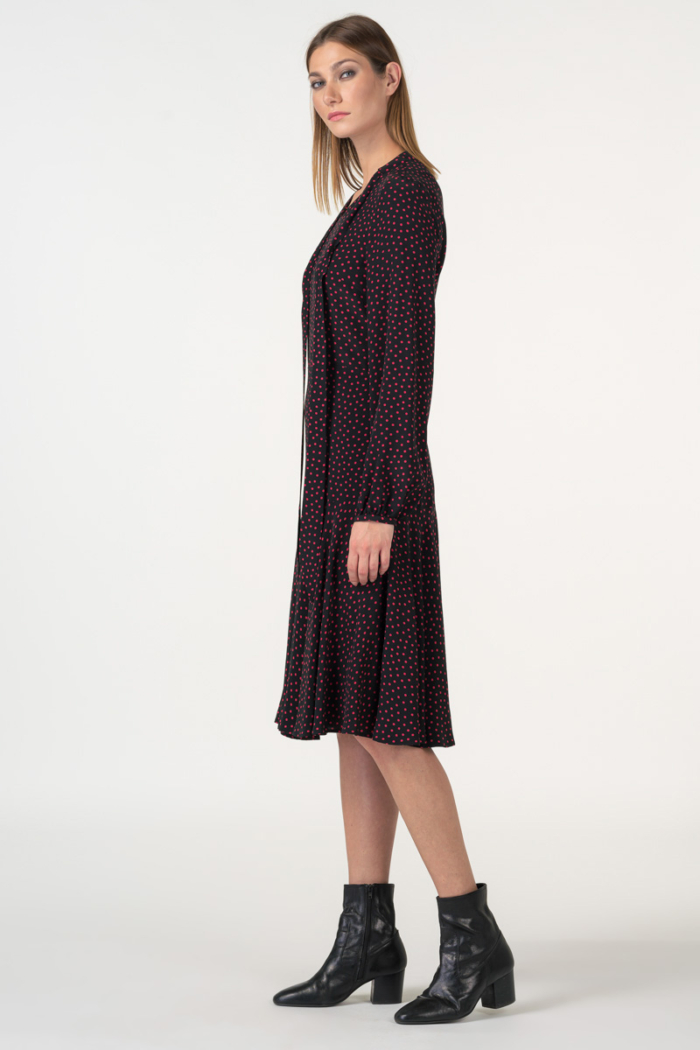 Varteks Black dress with a polka dot pattern