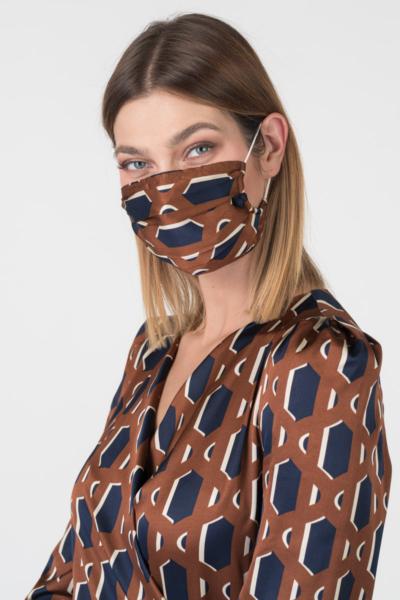 Varteks Bakreno smeđa haljina s ukrasom za lice