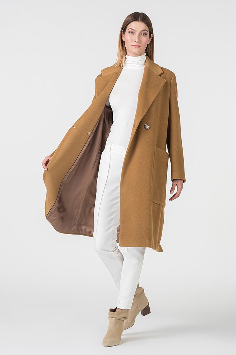 Dugi ženski kaput camel boje