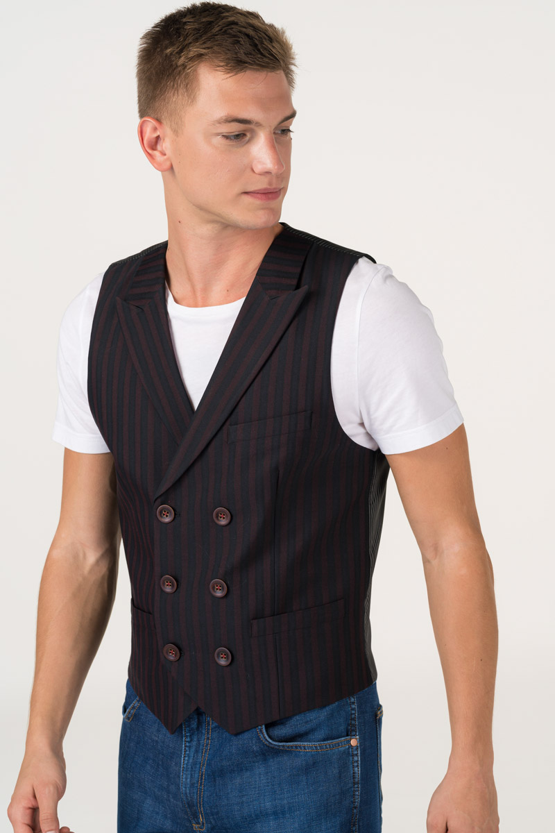 Varteks Men's burgundy vest with stripes