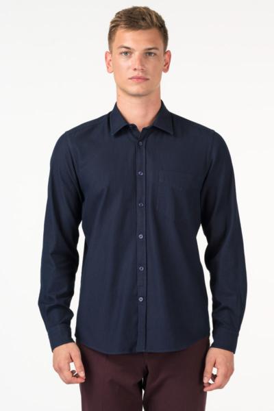 Varteks Muška pamučna indigo plava košulja - Casual fit