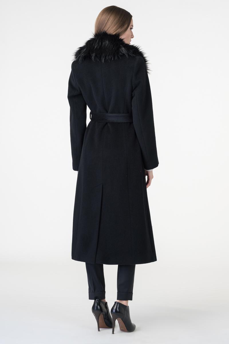 Varteks Dugi crni kaput s krznenim ovratnikom