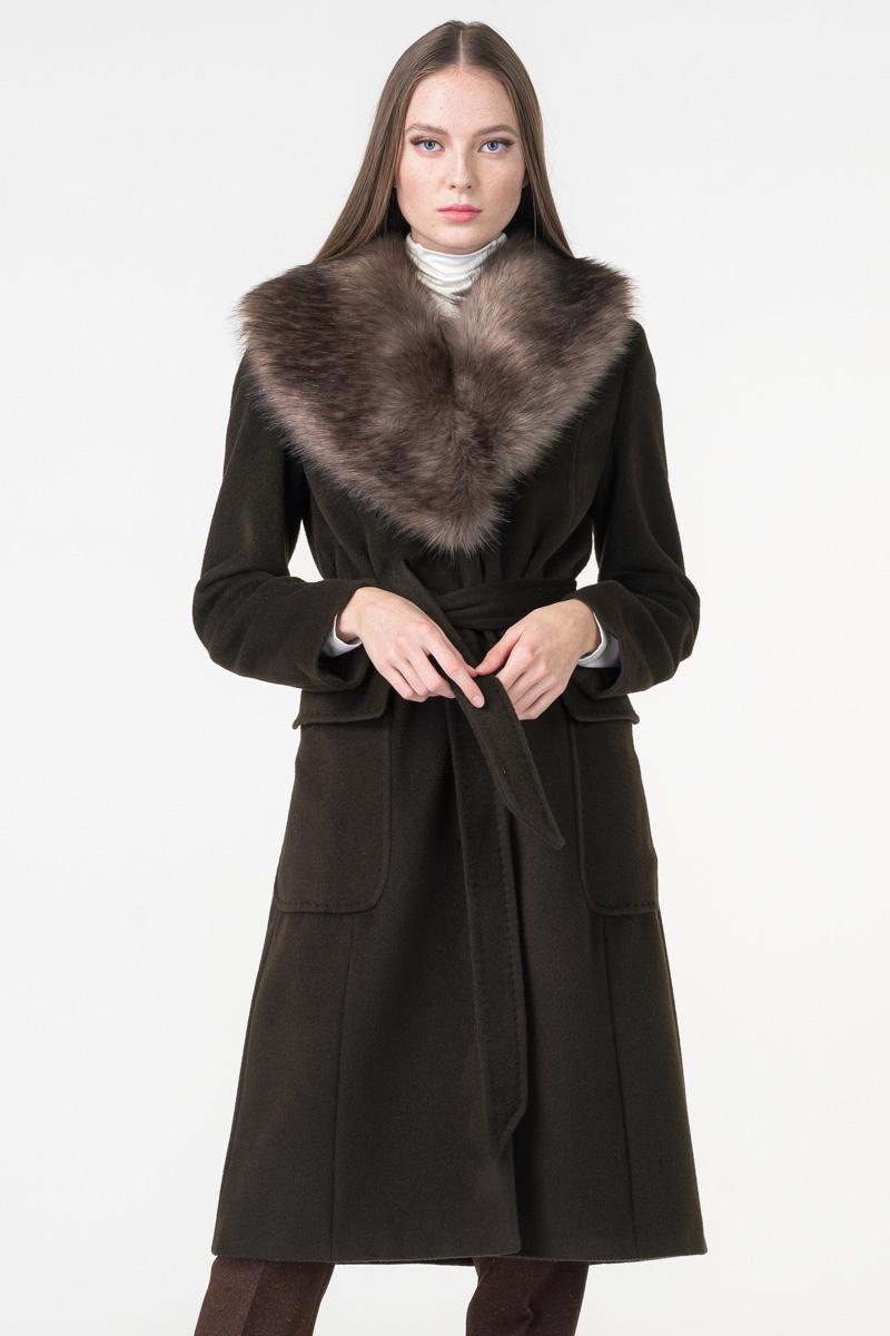 Varteks Women's brown green coat fur collar