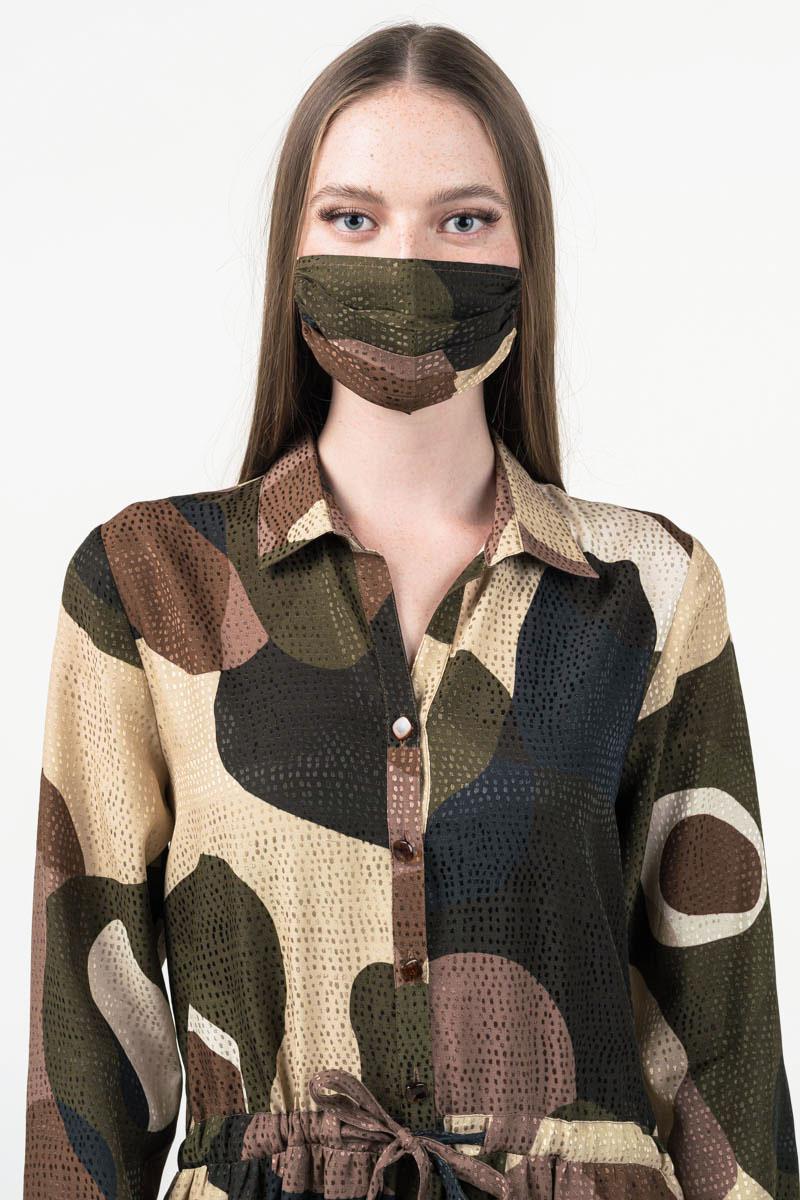Varteks Ženska haljina zeleno smeđeg uzorka