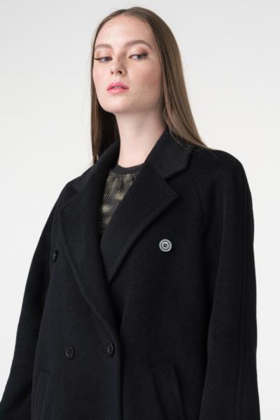 Varteks Ženski crni kaput ravnog kroja