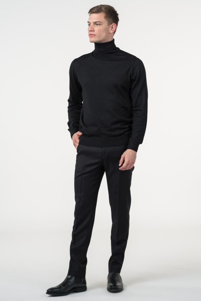 Varteks Klasične crne muške hlače od vune