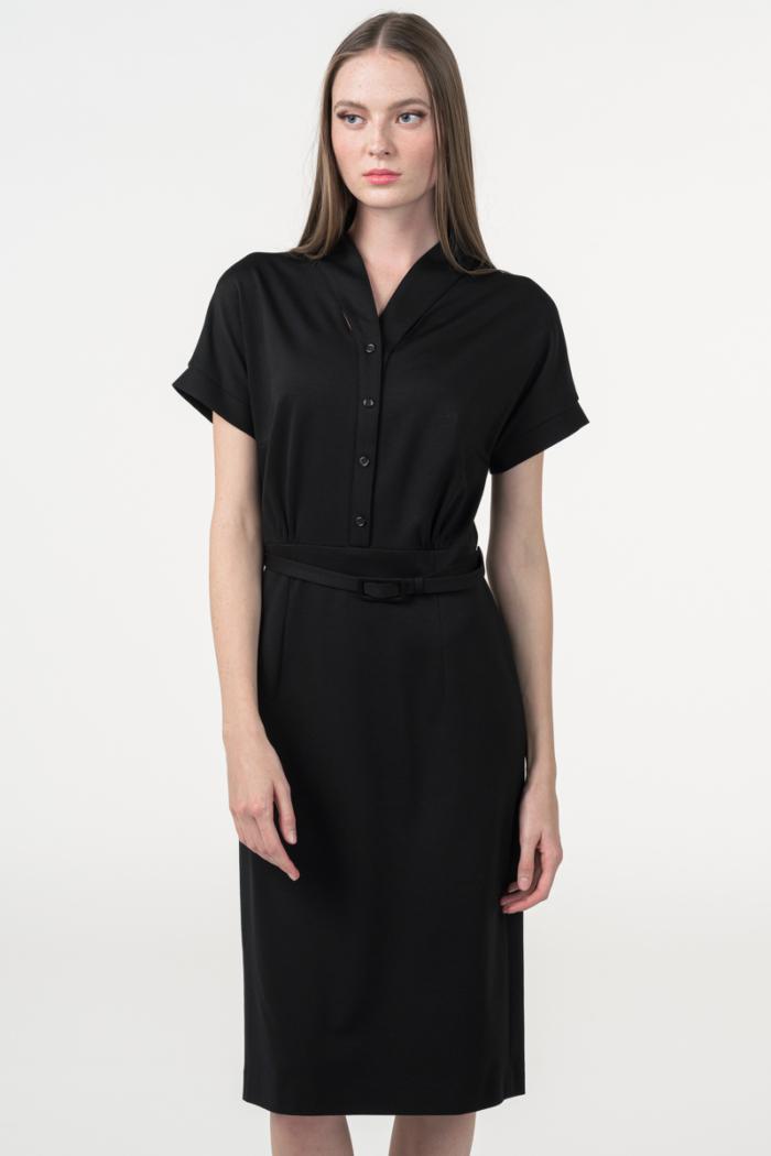Varteks Crna ženska retro haljina s maramom