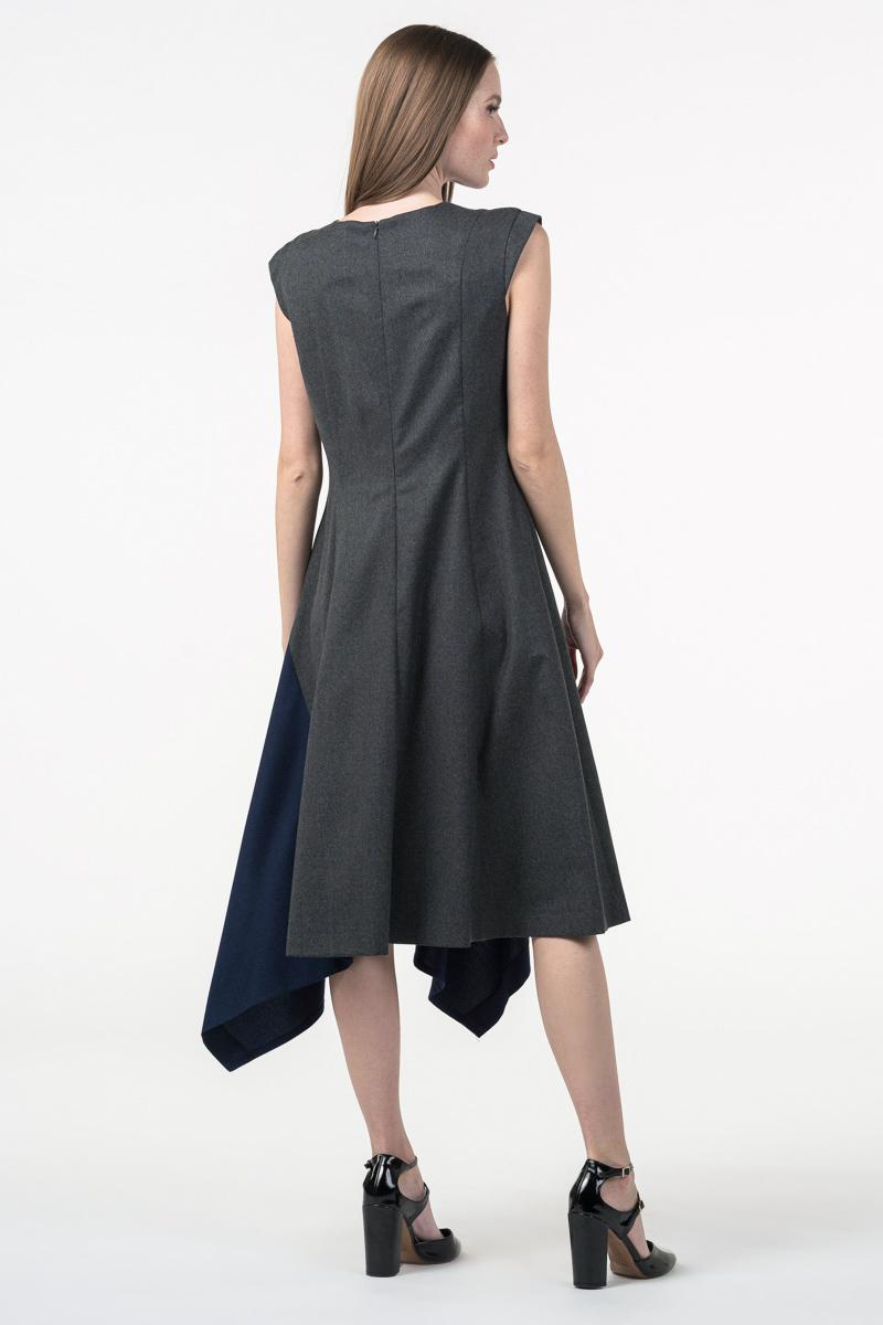 Varteks Siva ženska haljina s plavim detaljem