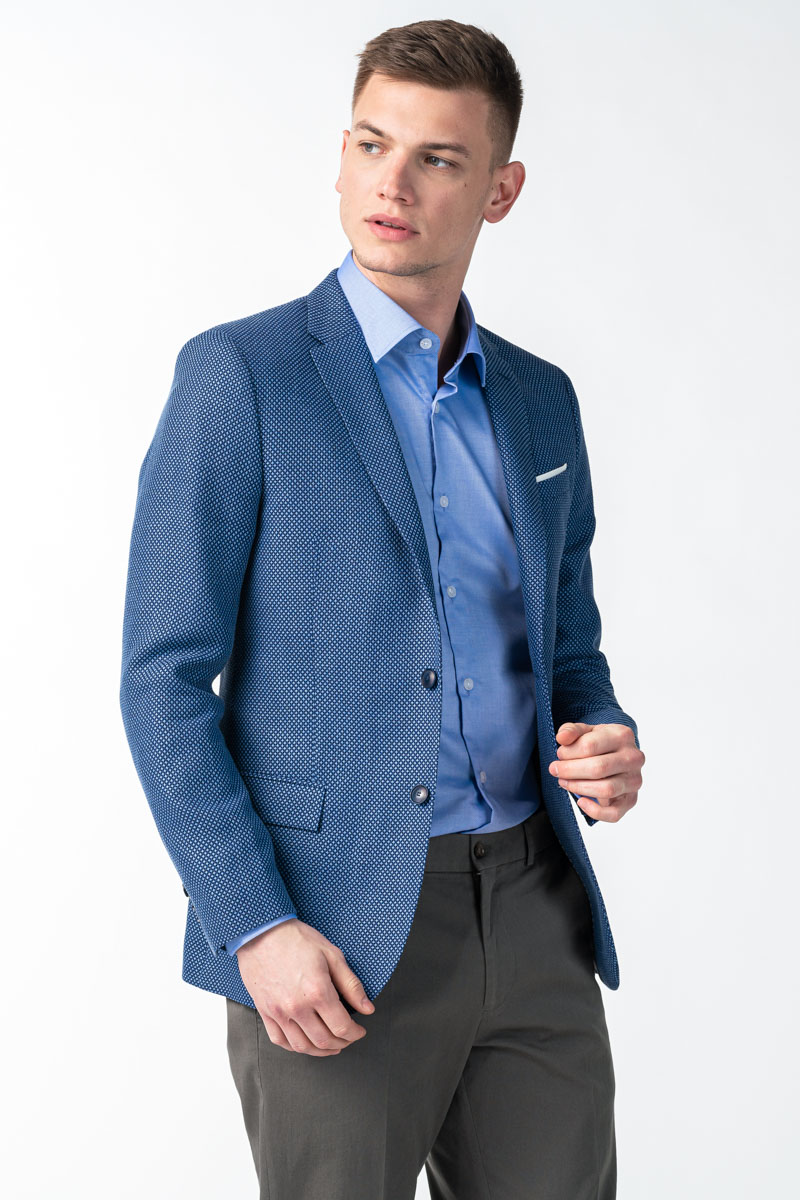 Varteks Men's blue blazer micro pattern - Slim fit
