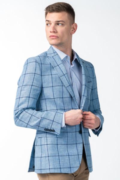Varteks Light blue plaid men's blazer - Regular fit
